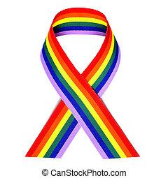 rainbow ribbon - a rainbow ribbon on a white background