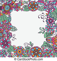 Seamless Floral Frame On White Background. Vector
