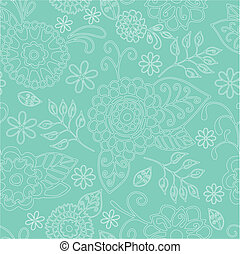Seamless Floral Pattern On Green Background
