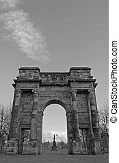 Glasgow green Arch 4 - Sandstone arch at the entrance to...