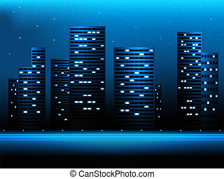 Night city landscape with skyscrapers and stars