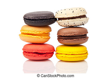 Colorful macaroons, French pastry on white background