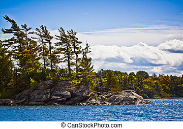 Georgian Bay Shoreline in Autumn viewed from water