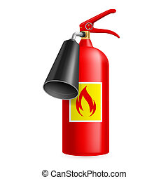 Fire extinguisher - Red fire extinguisher isolated on white....