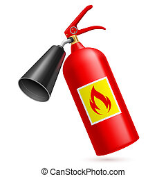 Fire extinguisher - Red fire extinguisher isolated on white...
