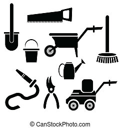 garden tools - illustration with garden tools silhouettes on...