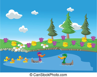 Nature landscape with ducks in the - Nature in spring