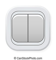 Switch - White switch with two buttons isolated on white...