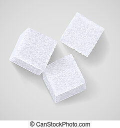 Lump sugar - Three white sugar cubes with shadow on grey...