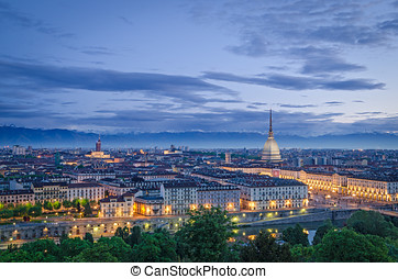 Turin Torino, high definition panorama at twilight