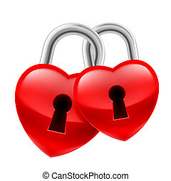 Heart locks - Red heart locks with keyholes chained together...
