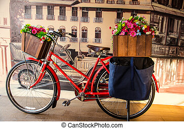 Red bicycle - old red vintage bicycle with flower