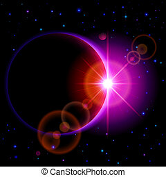 Dark planet with flare - Space background Dark planet with...
