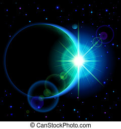 Dark planet with flare - Space background. Dark planet with...