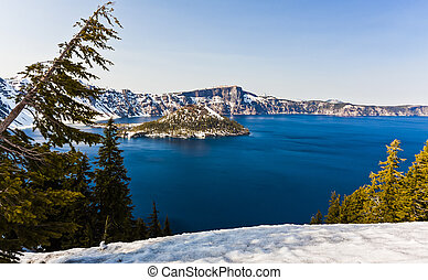 Scenic View of Wizard Island, Crater Lake, Oregon