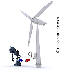 Android with wind turbine - 3D Render of a Android with wind...