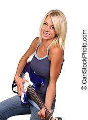 Pretty Blonde Guitarist - Gorgeous blond girl playing an...