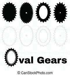 Set of oval cogs or gears - A set of solid and outlie...