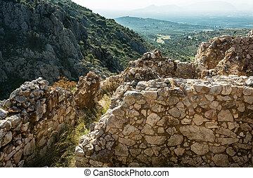 Mycenae, arqueológico, lugar, grecia