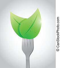 fork and eco healthy food concept