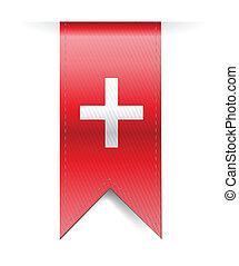 Switzerland flag banner illustration design over a white...