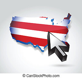 us map and cursor illustration