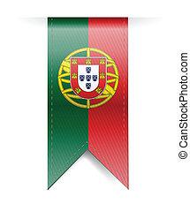 portugal flag banner illustration design over a white...