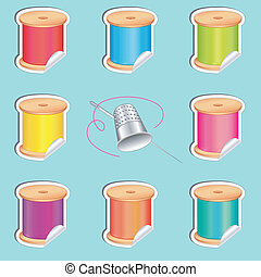 Stickers, Needle, Threads, Thimble - Silver thimble, needle...