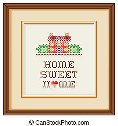 Embroidery, Home Sweet Home Frame - Mahogany wood picture...