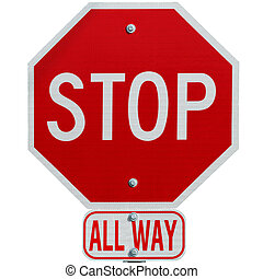 Stop sign all way isolated on white background