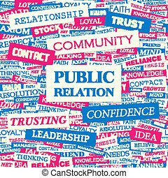 PUBLIC RELATION. Concept illustration. Graphic tag...