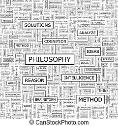 PHILOSOPHY. Seamless pattern. Word cloud illustration.
