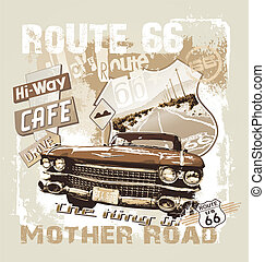 king of mother road - vintage car vector art illustration...