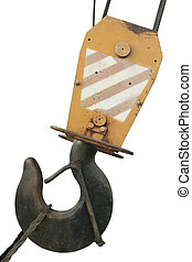 hook of a crane - old lifting hook isolated white background