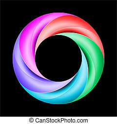 Colorful ring with shiny curved layers on black background