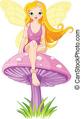 Cute Fairy on the Mushroom - Cute fairy elf sitting on...