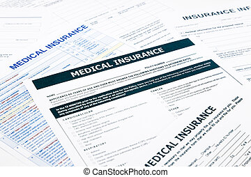 medical insurance form, paperwork and questionnaire for...