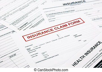 insurance claim form, paperwork and legal document,...
