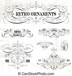 Vector Vintage Ornament Set - Easy to edit! Clipart set of a...