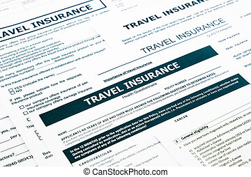travel insurance form, paperwork and questionnaire for...