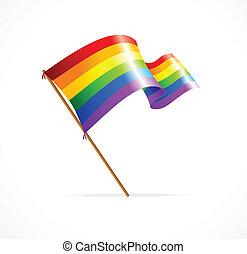 Vector a rainbow flag waving on white