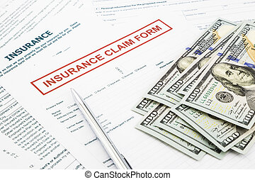 insurance claim form and money - insurance claim form and...