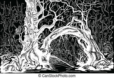 thicket black - Thicket. Felled trees. Drawing black and...