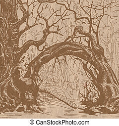 thicket brown - Thicket. Felled trees. Stylized drawing on...