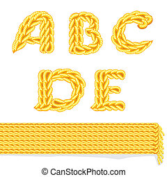 knitted alphabet A_E - letter of knit handmade alphabet on...