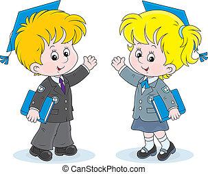 Schoolchildren with trencher-caps - Schoolgirl and schoolboy...