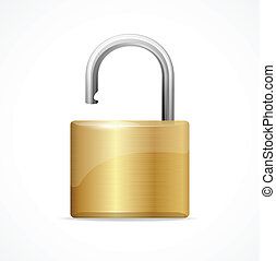 Vector unlocked padlock gold isolated on white