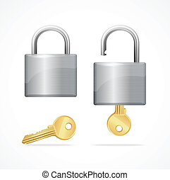 Vector locked and unlocked padlock gold isolated