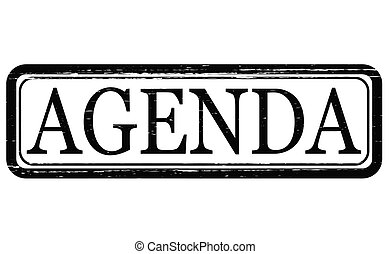 Agenda - Stamp with word agenda inside, vector illustration