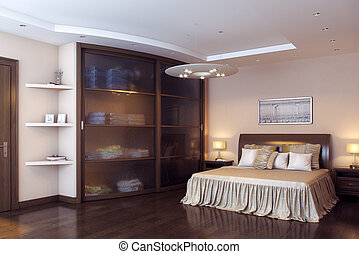 Classic Elegant Big Bedroom With Wardrobe and Parquet